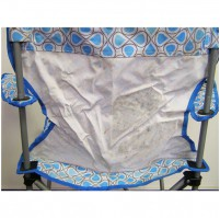 HIGHLANDER MORAY skládací židle s opěrkami - modrá/bílá - ušpiněno
